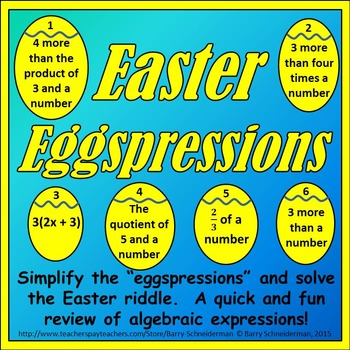 Algebraic Expressions - Easter Puzzle by Barry Schneiderman | TpT