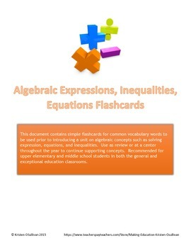 Algebraic Expressions, Equations, Inequalities Flashcards