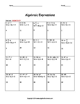 Algebraic Expressions:  Evaluating Riddle