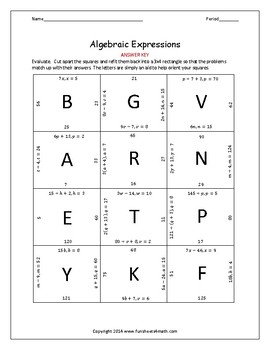 Algebraic Expressions: Evaluating Single Variable Positive Numbers Only (Bundle)