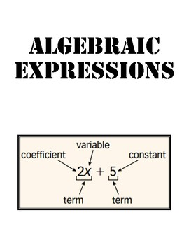 Algebraic Expressions Foldable - Interactive Notebook