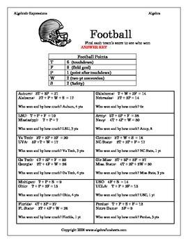 Evaluating Algebraic Expressions:  Football Basic Skills