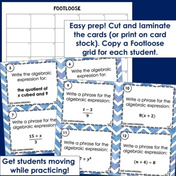 Algebraic Expressions Footloose 2 - Task Card Math Game