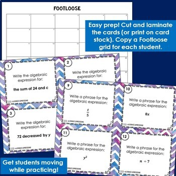 Algebraic Expressions Task Cards - Footloose Math Game with extra practice