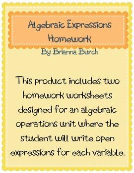 Algebraic Expressions Homework