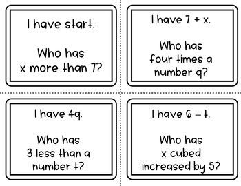 "Algebraic Expressions ""I Have Who Has"" Math Activity"