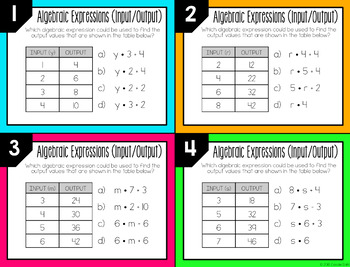 Algebraic Expressions (Input/Output) Task Cards