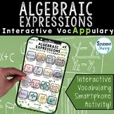 Algebraic Expressions   Algebra Activity   Interactive Voc