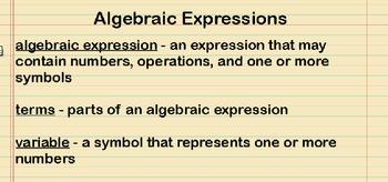 Algebraic Expressions Lesson Presentation