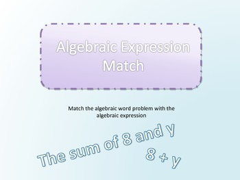 Algebraic Expressions Matching Game
