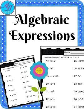 Algebraic Expressions. No prep. Worksheets.