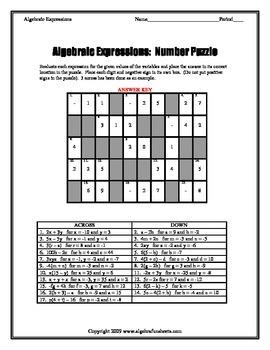 Algebraic Expressions:  Evaluating Number Puzzle