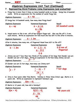 Algebraic Expressions - Unit Review/Pre-Test and Unit Test