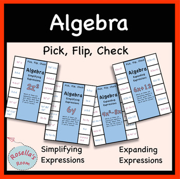Algebraic Expressions Pick Flip Check Activity