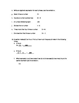 Algebraic Expressions Practice