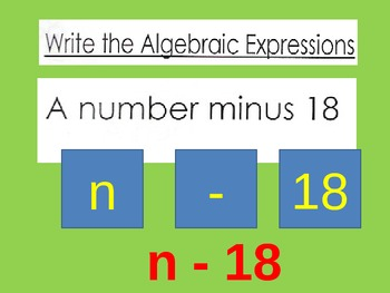 Algebraic Expressions Practice Reading and Writing for Visual Learners