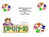 Algebraic Expressions Practice Reading and Writing for Vis
