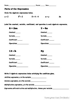 Algebraic Expressions: Homework or Worksheets