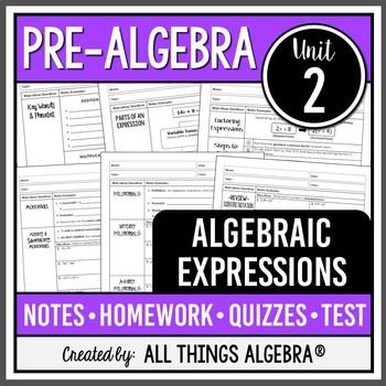 Algebraic Expressions (Pre-Algebra - Unit 2)