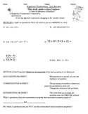 Algebraic Expressions & Properties Review