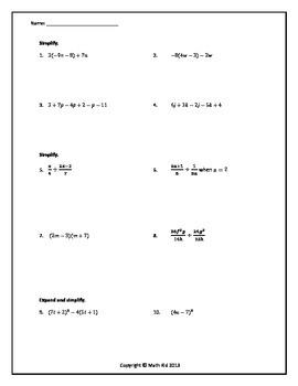 Algebraic Expressions Quiz 2