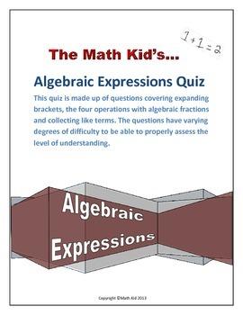 Algebraic Expressions Quiz