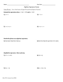 Algebraic Expressions Review and Assessment