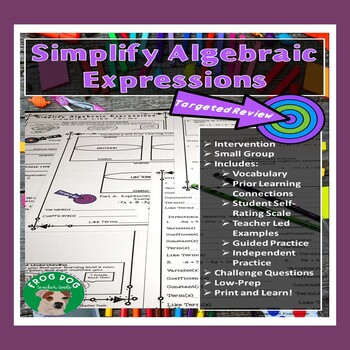 Combine Like Terms Review Printable Worksheet Intervention Activity