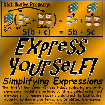 Simplifying Algebraic Expressions - Distributive Property, Combining Like Terms