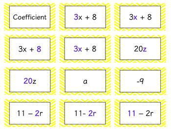 Algebraic Expressions Sort