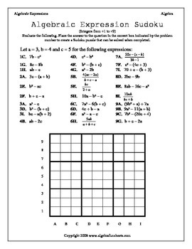Algebraic Expressions:  Evaluating Sudoku