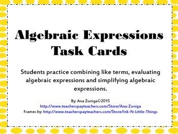 Algebraic Expressions Task Cards