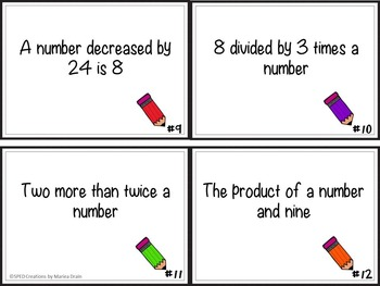 Algebraic Expressions: Task Cards and PowerPoint Show
