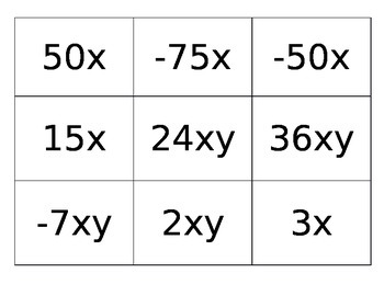 Algebraic Expressions- Term Cards