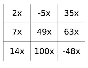 Algebraic Expressions- Term Cards
