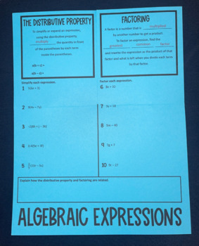 Algebraic Expressions- The Distributive Property vs. Factoring (Foldable)