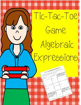 Algebraic Expressions Tic-Tac-Toe Game