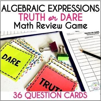 Algebraic Expressions Truth or Dare Math Game