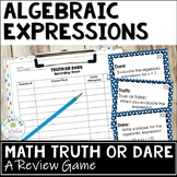 Algebraic Expressions Truth or Dare Math Game