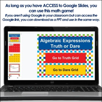 Algebraic Expressions Truth or Dare for Google Classroom