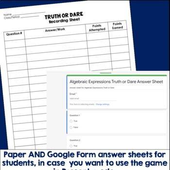 Algebraic Expressions Truth or Dare Math Game for Google Classroom