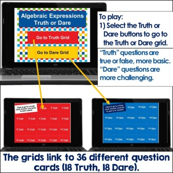 Algebraic Expressions Truth or Dare Math Game for Google Classroom|Slides