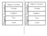 Algebraic Expressions Vocabulary Foldable