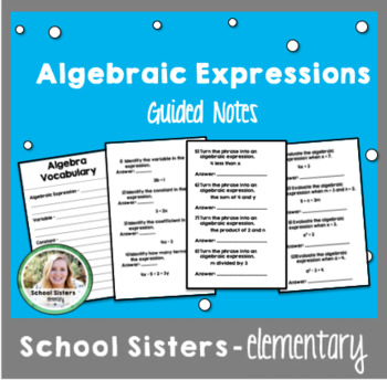 Algebraic Expressions Vocabulary Guided Notes