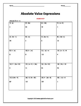 Algebraic Expressions:  Evaluating with Absolute Value