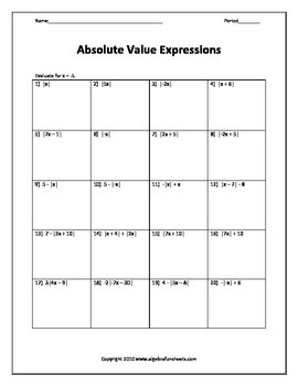 Evaluating algebraic expressions with absolute value worksheet evaluating algebraic expressions with absolute value worksheet ibookread PDF