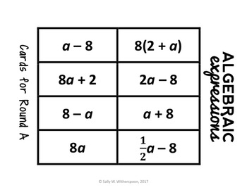 Algebraic Expressions: Word Form & Number Form Number Sort, Matching Game