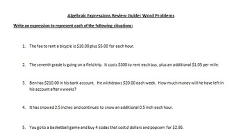 Algebraic Expressions Word Problems