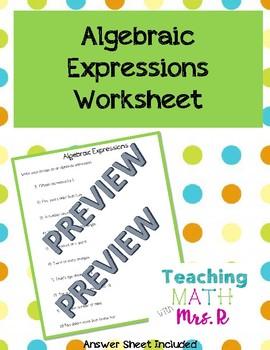 Algebraic Expressions Worksheet
