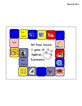 Algebraic Expressions a Pet Race Around the Track